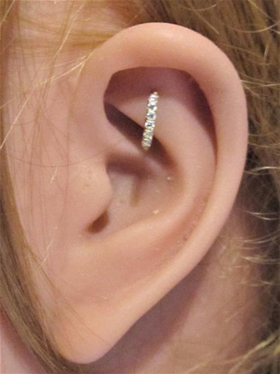Diamond Set Daith Septum Hoop,Tragus Earring Rook Helix 16g 18K Over Bendable
