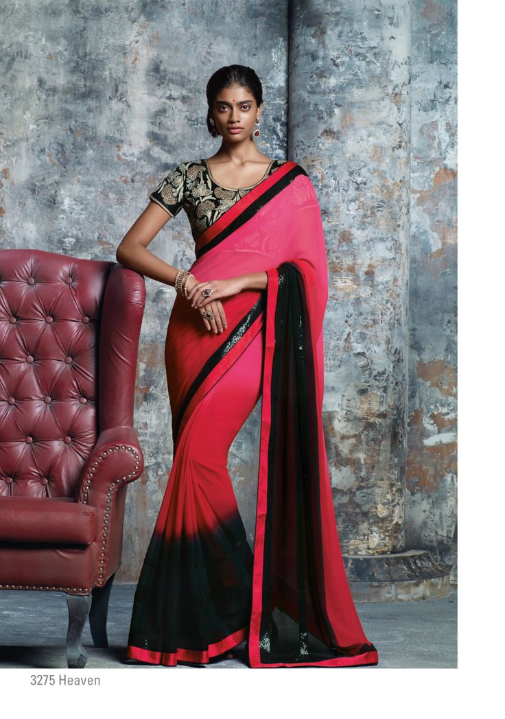 Laxmipati Sarees - The red, pink & black- trio pedding georgette saree with sequence border is surely steal your heart and also super duper embroidery blouse piece is Like a Cherry on the cake!