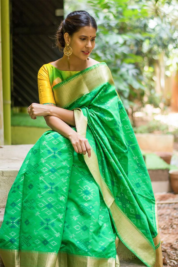 Leaf green self Ikat weave cotton silk saree with rich gold tissue border  #saree #blouse #houseofblouse #indian #bollywood #style #leaf #green #Ikat #weave #Patola #inspired #cottonsilk #gold #tissue #border