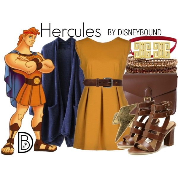 Hercules by leslieakay on Polyvore featuring G2Choice, Angela & Roi, Lord & Taylor, Bed Stu, disney, disneybound and disneycharacter