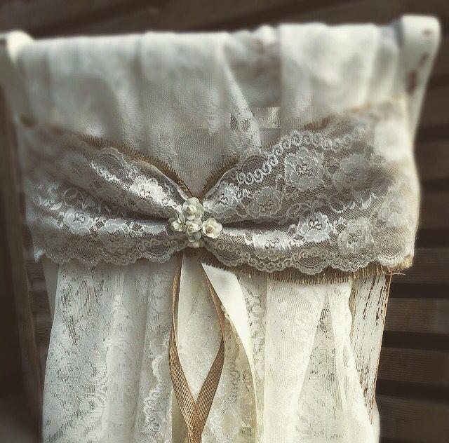 Lace chair bows with vintage la belle
