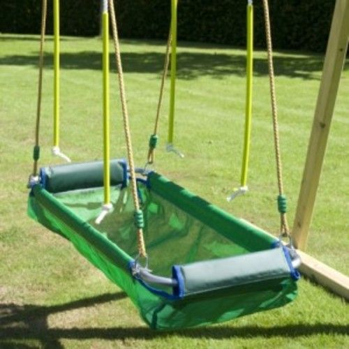 A swing designed to accommodate person in lying position. Coracle Swings