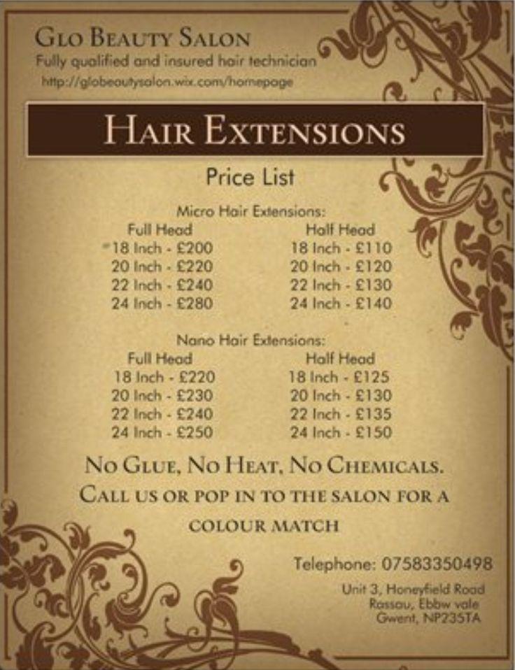 Best 25 hairdresser price list ideas on pinterest hair salon hair extension price list pmusecretfo Gallery