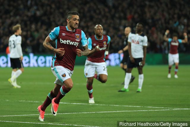 Manuel Lanzini of West Ham United celebrates after scoring the opening goal during the Premier League match between West Ham United and Tottenham Hotspur at the London Stadium on May 5,...