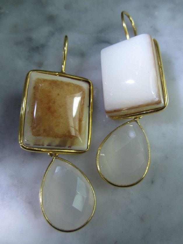 Vergoldete Ohrringe - TOM K Ohrringe Mondstein Onyx Unikat Solitaer - ein Designerstück von TOMKJustbe bei DaWanda