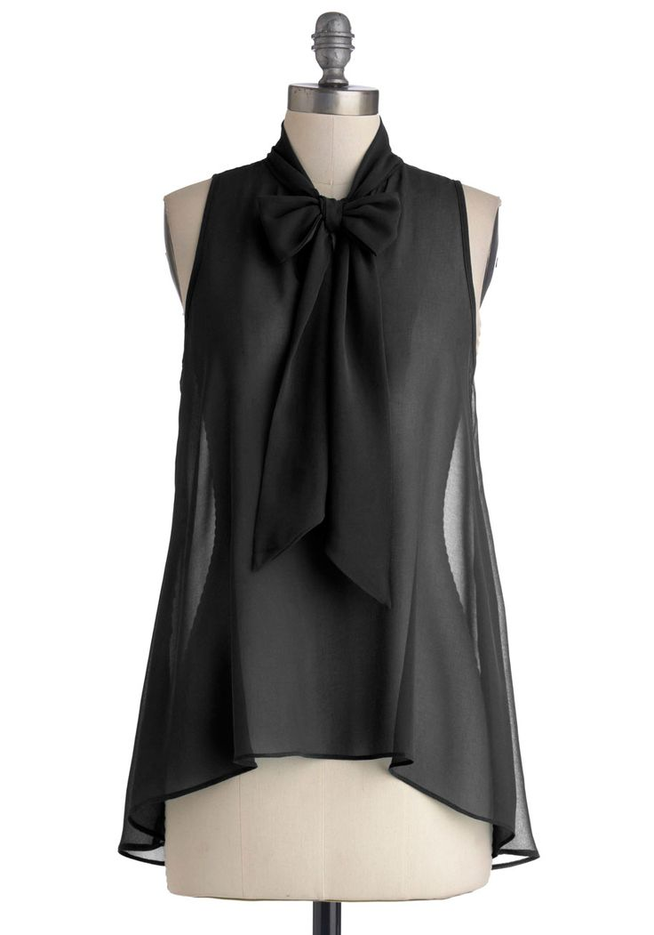 "Cute Do You Do Top in Black. When you don this silky chiffon top blanketed in black, everyone around you cant help but say, ""Hello."" Composed of sheer chiffon, this solid top features a slight high-low hem and a tied collar. #black #modcloth"