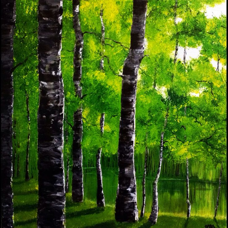 """Aspen forest in summer, oil on 3D canvas, 60x60cm, """"the seasons collection"""" #commission #artwork #art #artist #oil #canvas #arts #daily #instaart #instagood #instagram #instadaily #instaartist #aspen #tree #river #landscape #gallery"""