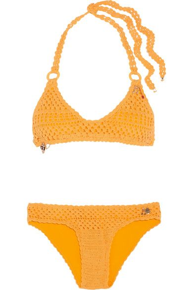 Mustard crocheted stretch cotton-blend Ties at neck and back 80% cotton, 16% polyester, 4% elastane Hand wash Lotion, sunscreen, oil and chlorine can cause discoloration of this item; this is not a manufacturing defect. Please follow care instructions to keep your swimwear in the best condition