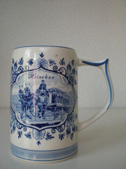 Vintage Delft Blue Handpainted Heineken Mug by FunkyVintageCorner, €10.00
