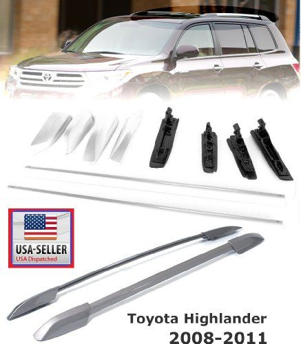 #08-11 Toyota Highlander 08-11 Silver Roof Luggage Carrier Rack Rail Bar Direct Bolt-On2008 2009 2010 2011
