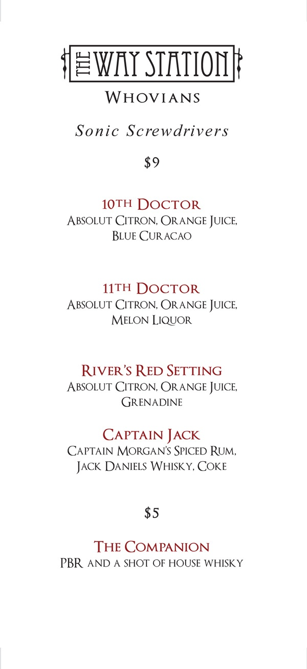 The Way Station - Doctor Who Bar in Brooklyn. Doctor Who inspired cocktails.