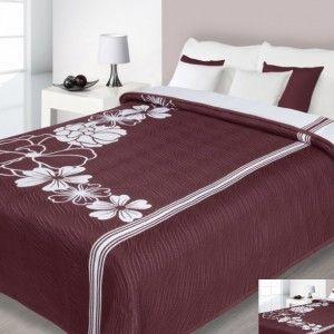 Bordový obojstranný prehoz na posteľ s motívom kvetov