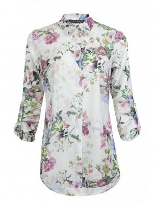Ivory Floral Sateen Long Sleeve Shirt £13.99 - https://www.facebook.com/SelectVoucherCode