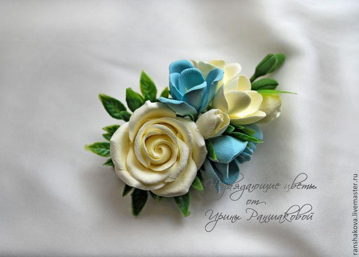 Купить или заказать Цветы для свадебной прически в интернет-магазине на Ярмарке Мастеров. Зажим для свадебной прически с розой и фрезией послужит отличным дополнением Вашего стильного образа. Эти цветы не завянут и не утратят своей красоты к концу вечера. Очень легкие и прочные. В дополнение можно изготовить, бутоньерку, браслеты для подружек и проч. аксессуары. Может быть в любой цветовой гамме.www.livemaster.ru/item/5516493-svadeb…