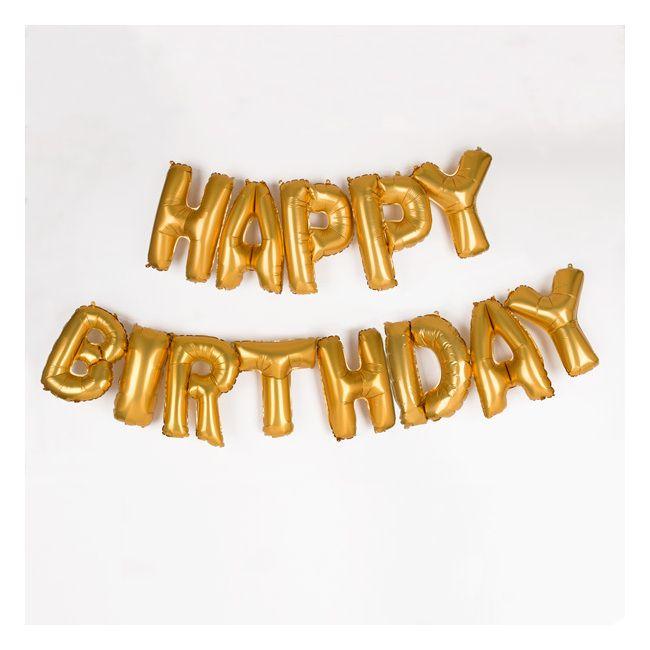 13 ballons Happy Birthday dorés