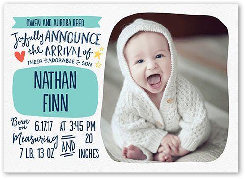Birth Announcement: Precious Scribbles Boy, Square Corners, Blue