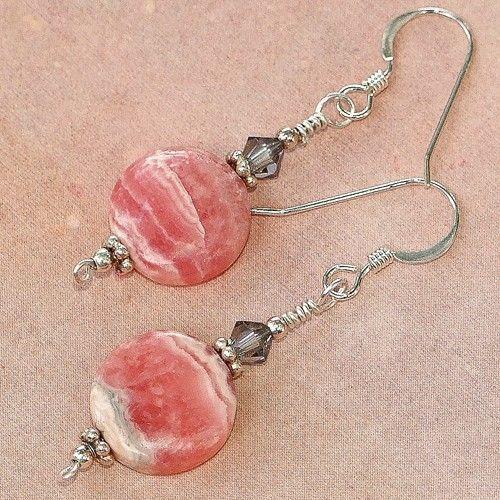 Pink Rhodochrosite Swarovski Earrings Handmade Summer OOAK Gemstone | ShadowDogDesigns - Jewelry on ArtFire