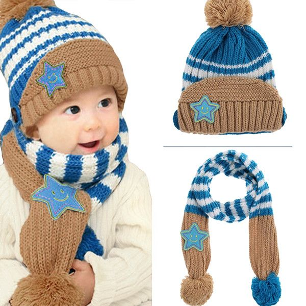 Little Kids Knitted Winter Beanie Hat and Scarf Set, 1 to 4 year olds