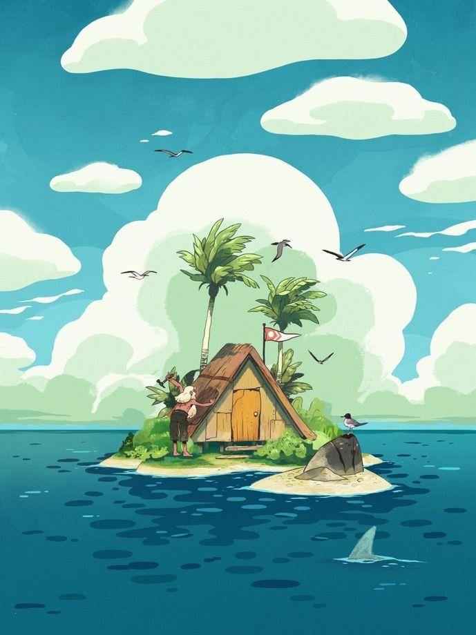 Мультяшная картинка необитаемого острова