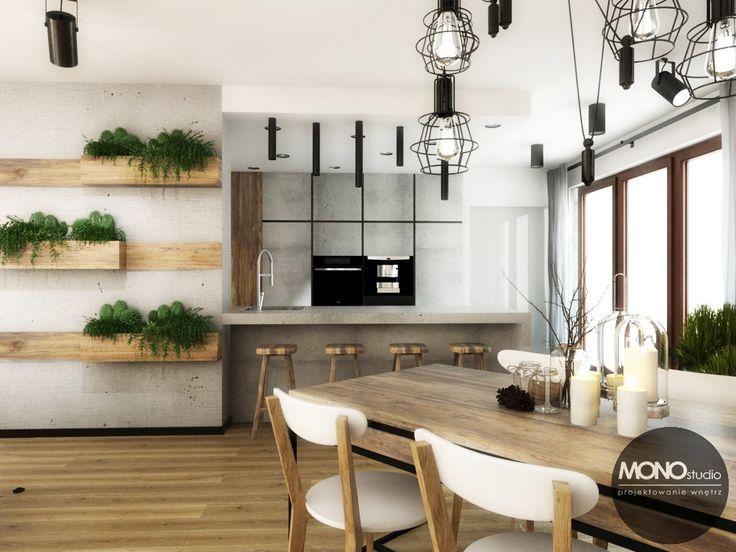 Zielone, żywe akcenty w postaci roślin w drewnianych wiszących donicach.     Więcej o nas znajdziesz na www.monostudio.pl oraz facebook Projektowanie WNĘTRZ pod klucz MONOstudio.pl