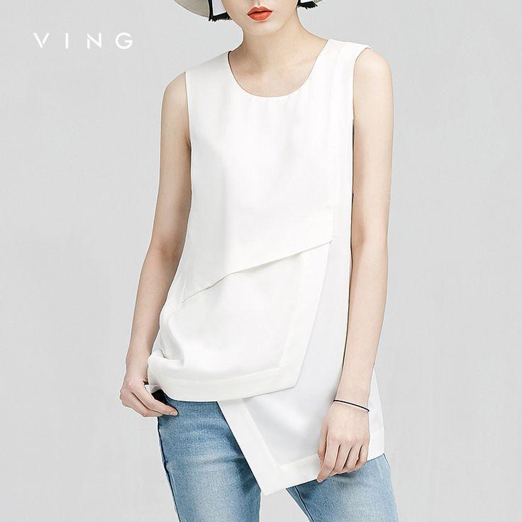VING Origional Designer Tank Top 2017 Summer Asymmestric Pattern Spliced Vest Women Summer Fashion Tops