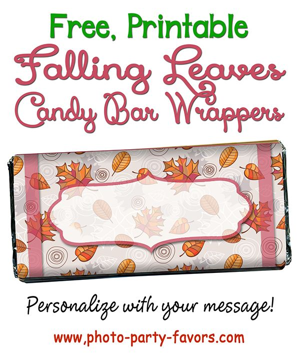 FREE Printable Falling Leaves Candy Bars Wrappers! DIY craft with EASY instructions for a standard 1.5 oz chocolate bar. Great for a fall birthday or any autumn party! More printables and other party stuff at http://www.photo-party-favors.com/