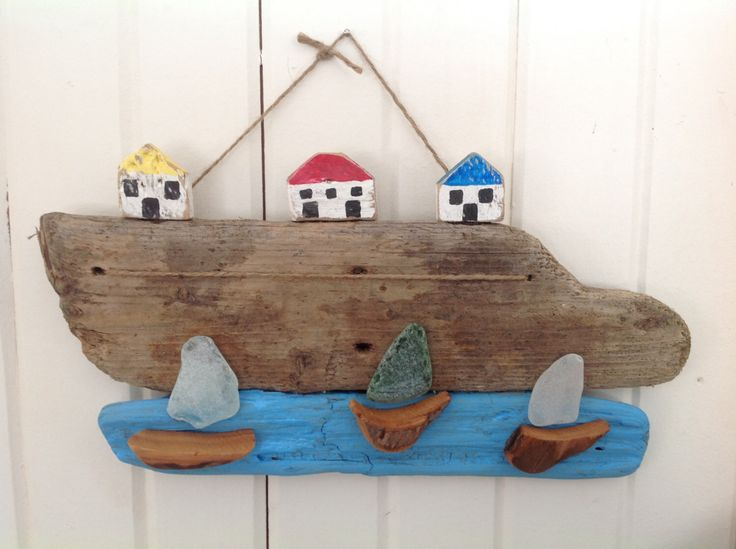 Driftwood seaside art Driftwood art Beach decor Beach glass art Sailboat art Seaside landscape Ocean pictures Fishing villages by MossBetweenMyToes on Etsy https://www.etsy.com/listing/253107575/driftwood-seaside-art-driftwood-art