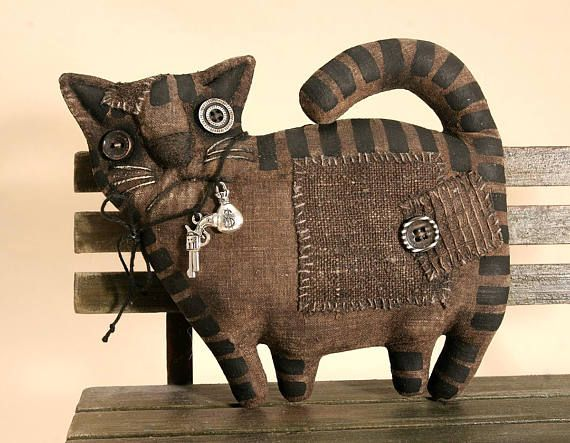 Примитивный черный злой Кот любитель подарок народного искусства тряпичная кукла примитивный декор Хэллоуин Cat коллекционная примитивное животное примитивные куклы