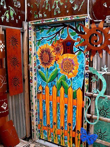 LOVE THIS!!! What a Happy Door!! Painted door. Moab ..rh