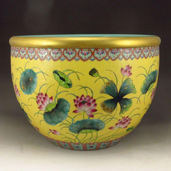 Chinese Gilt Edges Famille Rose Porcelain Fish Globe