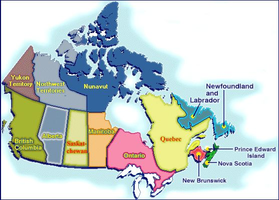 Canada's 10 Provinces and 3 Territories
