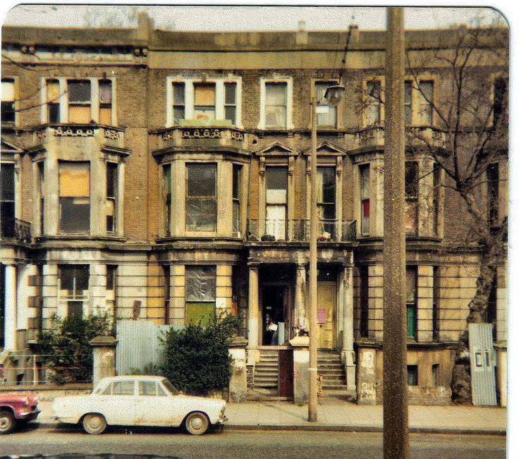 Georgian terraced houses on Elgin Avenue, Maida Vale, London 1975. The street was demolished shortly after. A number or these houses still exist on Elgin Avenue, numbers 1- 7, from 8 onwards was demolished for rebuild.