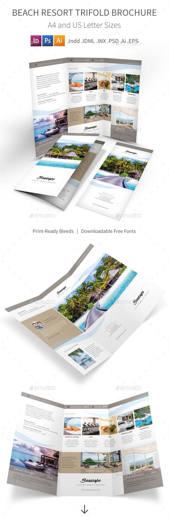Beach Resort Trifold Brochure Template. Download here: http://graphicriver.net/item/beach-resort-trifold-brochure-2/15729081?ref=ksioks