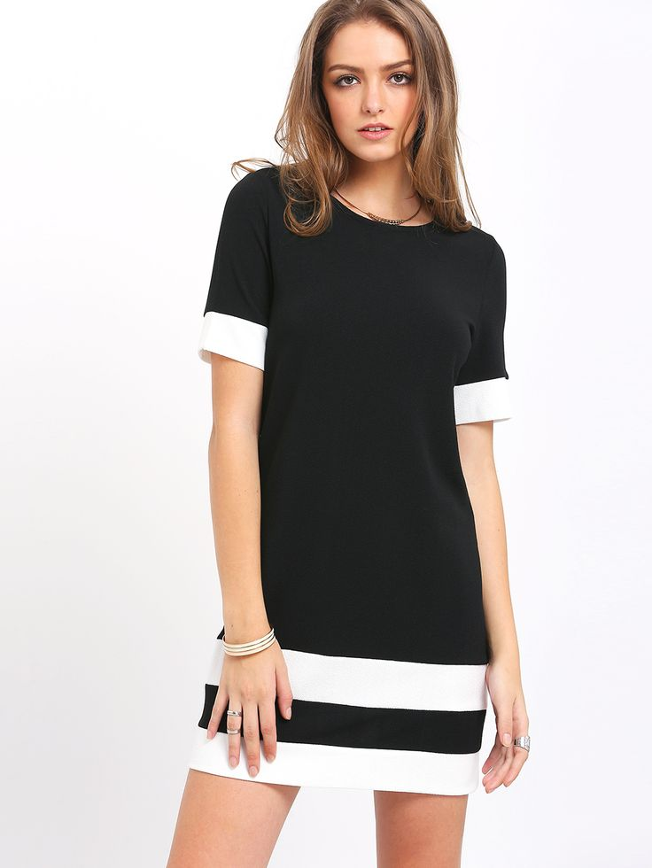 Black White Patchwork Short Sleeve Shift Dress -SheIn(Sheinside)