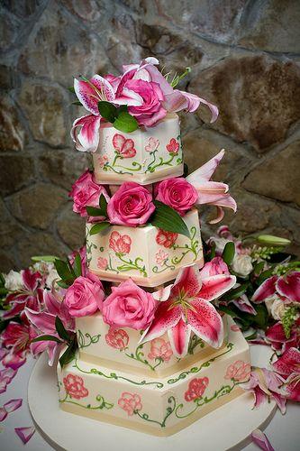 pink star gazer hexagon wedding cake ~ beautiful!