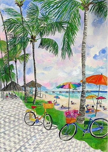 Bicycle Afternoon watercolor. By Eileen Seitz. www.IslandRunaways.com #islands #islandart #islandrunaways