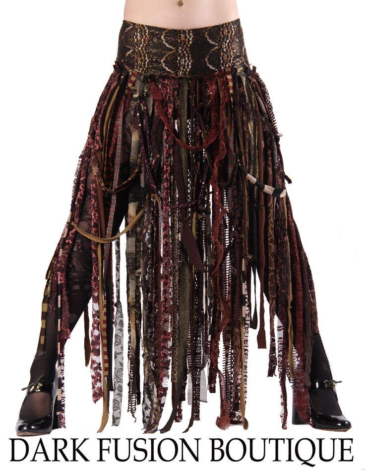 Skirt, Browns, Cabaret, Vaudeville, Steampunk, Noir, Gothic, Tribal, BellyDance, Dark Fusion Boutique. $65.00, via Etsy. http://www.etsy.com/listing/85000435/skirt-browns-cabaret-vaudeville