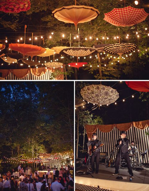i like the hanging umbrellas! we could even incoporate the circus theme but in a garden setting