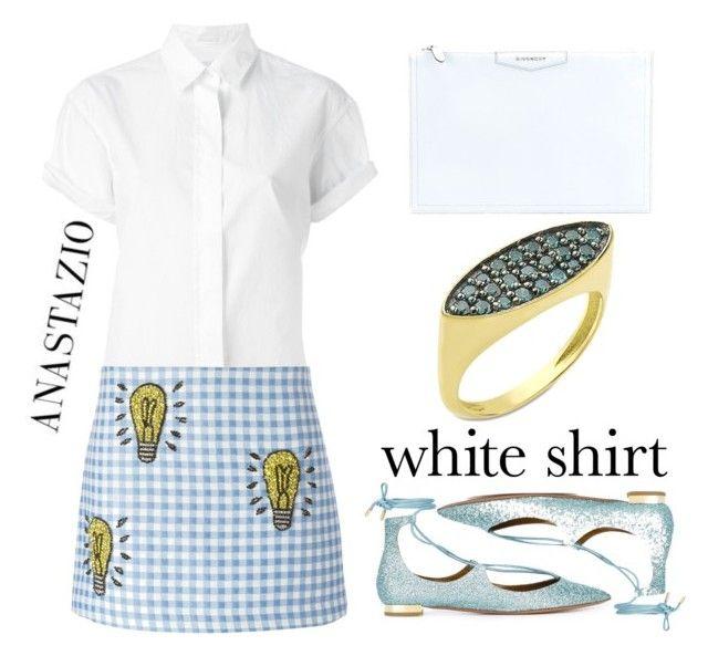 Anastazio-white shirt by anastazio-kotsopoulos on Polyvore featuring Closed, Au Jour Le Jour, Aquazzura, Givenchy and Anastazio