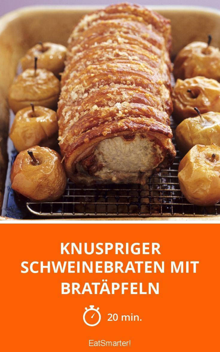 Knuspriger Schweinebraten mit Bratäpfeln - smarter - Zeit: 20 Min. | eatsmarter.de
