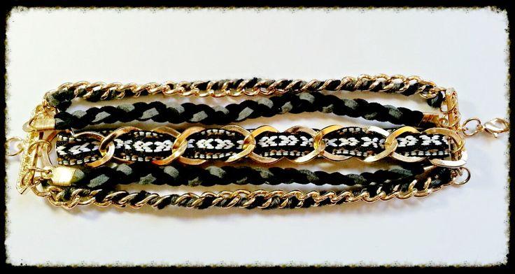 Pulsera negra con cadenas trenzadas