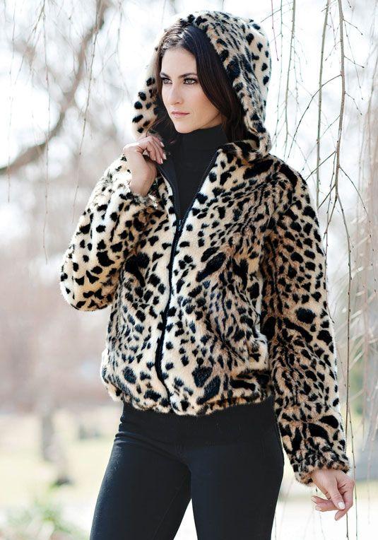Leopard Hooded Faux Fur Parka
