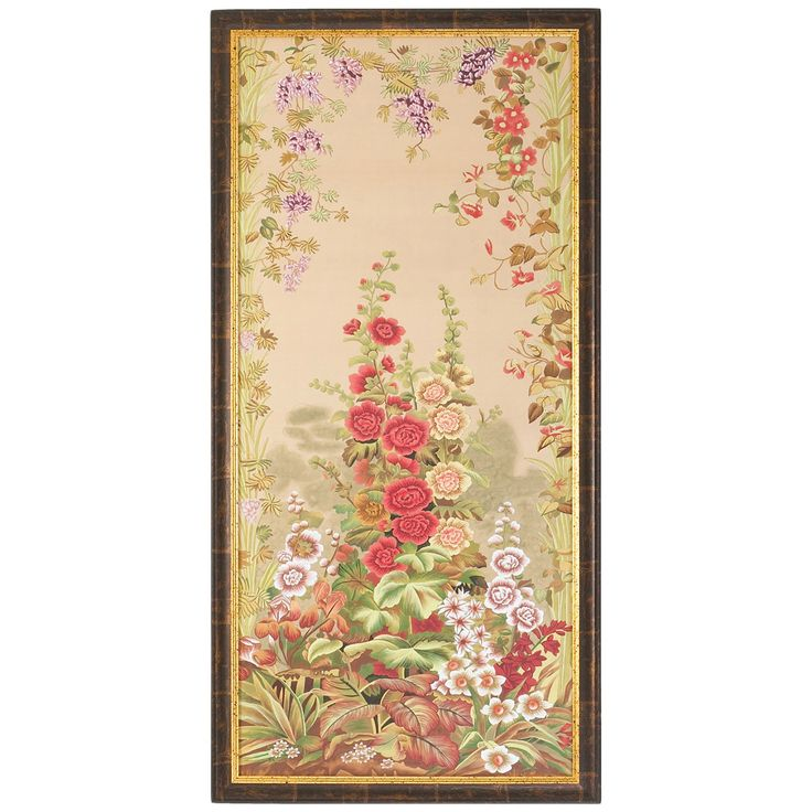 Chelsea House 31-0028A Hollyhocks A Antique Gold and Brown Frame Art