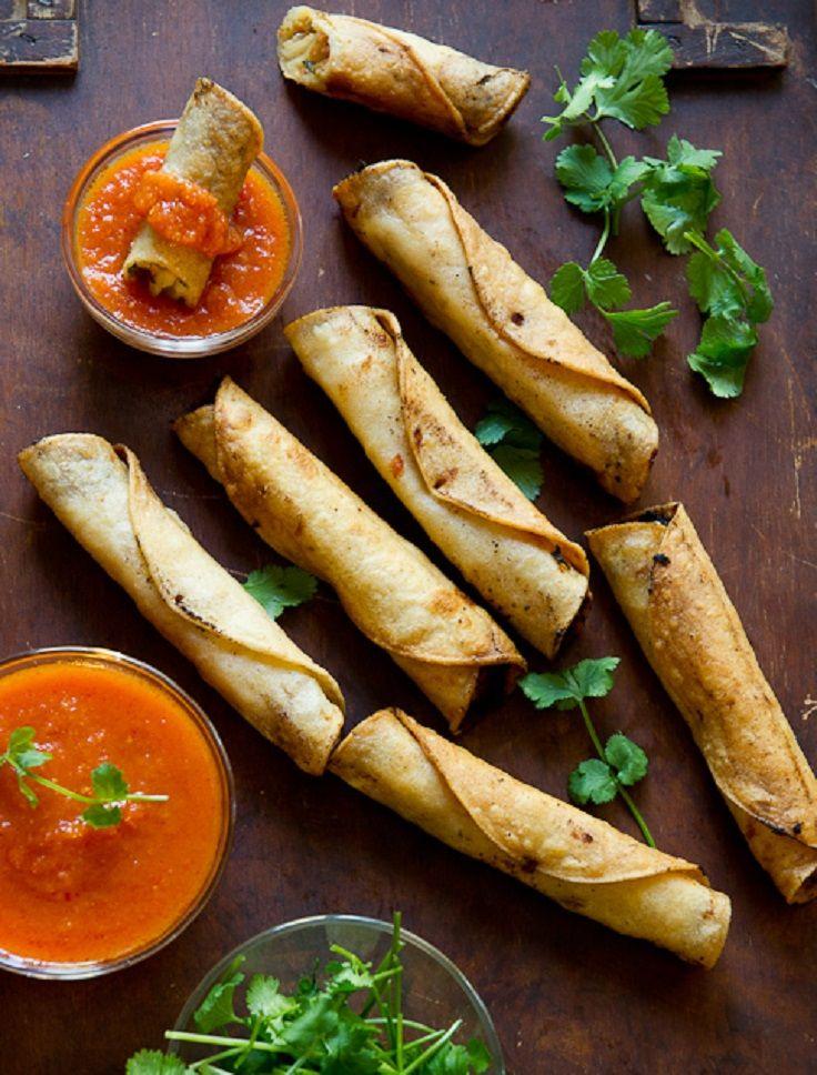 Crispy Rolled Shrimp Tacos Recipe — Dishmaps