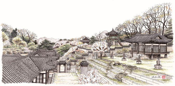 Image result for 한옥 일러스트