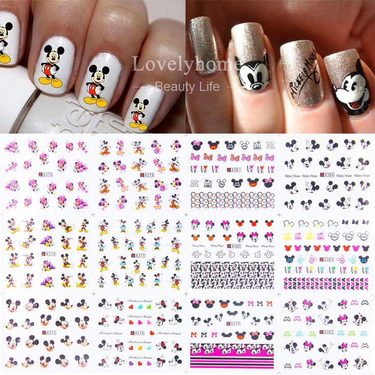 12 Sheets 12 styles A373-384 Nail Art Water Transfer Sticker Decals Cute Mickey Mouse Cartoon Stickers Wraps Tips Decoration *** Want additional info
