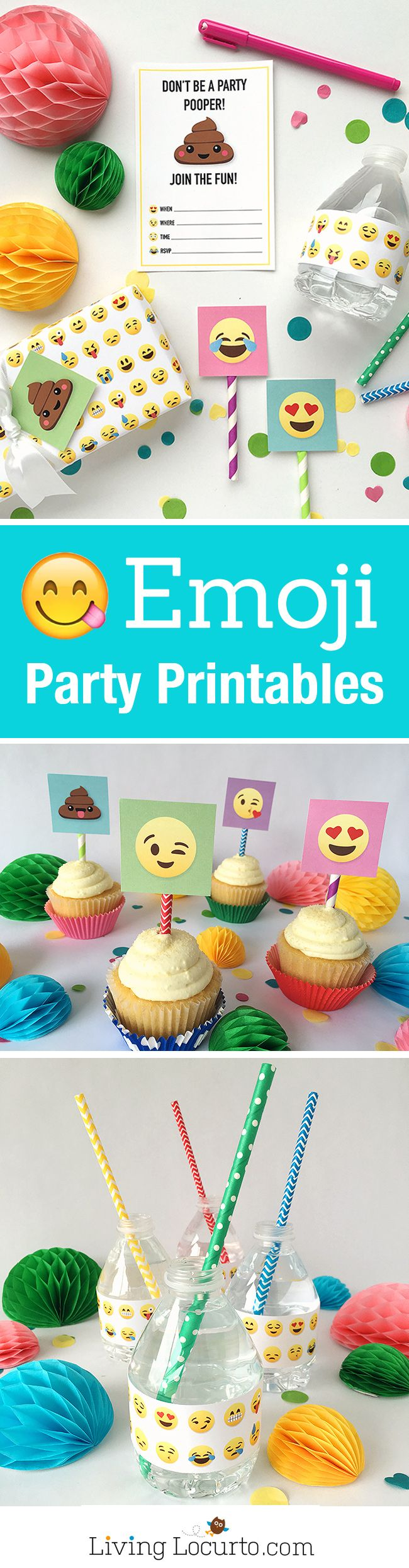 Emoji Party Ideas! Colorful Free Party Printables perfect for any Emoji Fan. Emoji Poop Invitations, Tags, Water Bottles and Gift Wrap. Emoji birthday or graduation party fun. ~ LivingLocurto.com #emojiparty #printables #emoji