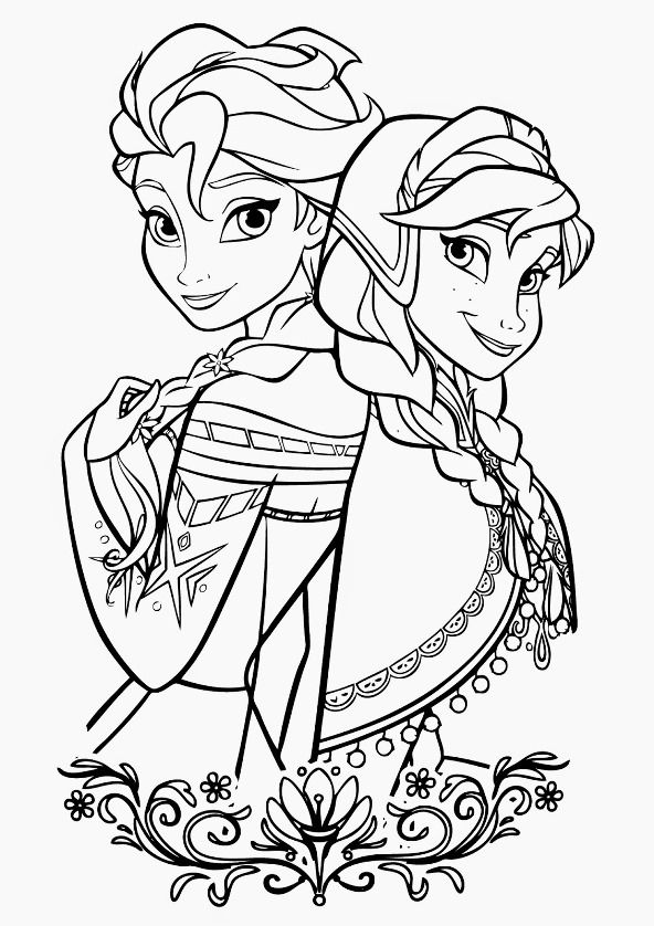 Kids-n-fun | Coloring page Frozen Anna and Elsa frozen