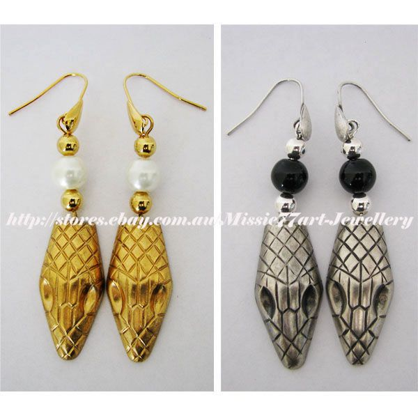 Egyptian inspired Snake Asp Earrings with Faux Pearl - Choice of Colours by Missie77art Jewellery on ebay