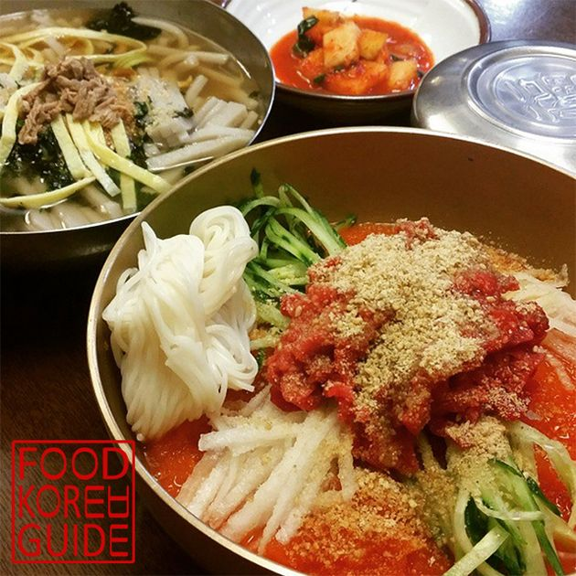 Cold meat broth with Korean beef 한우물회: RAW BEEF MEATS WITH VEGGES & ICY COLD SPICY BROTH ! YUMMY !